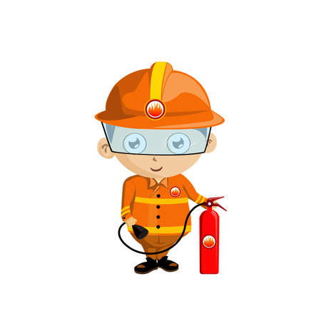 Illustration of a Firefighter in uniform holding a fire extinguisher  Vector