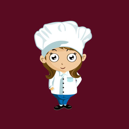 Illustration of a woman chef in white uniform on a red background  Vector