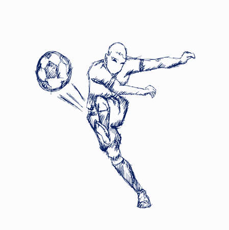 Illustrations footballer kicking a ball on white background Vector