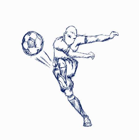 Illustrations footballer kicking a ball on white background 向量圖像