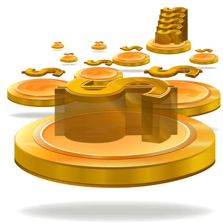 falling money: Illustration for Gold Dollar Coin