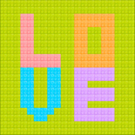 Illustration of the love lego brick  on the green background Vector