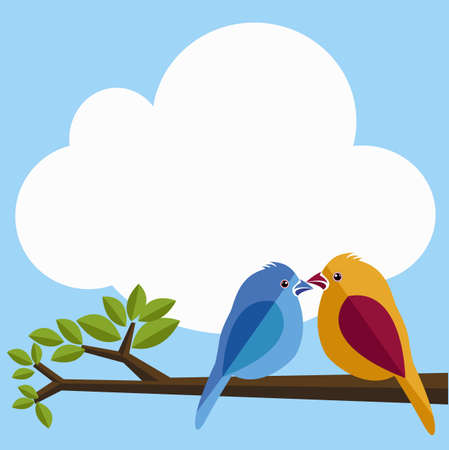 Illustrations of the Lover birds on the tree Vector