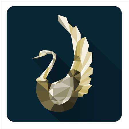 abstract  gold swan with geometric  composition Vector