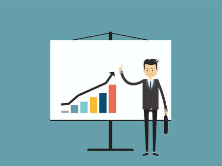 Info graphics business, Businesswomen are pointing at a growing graph.Flat design people characters, vector illustration. Banco de Imagens - 76498581