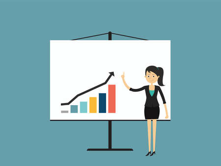 Info graphics business, Businesswomen are pointing at a growing graph.Flat design people characters, vector illustration. Imagens - 76498582