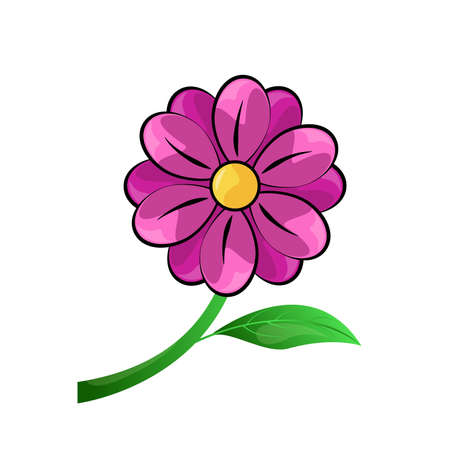 Pink flower vector isolated on white background.