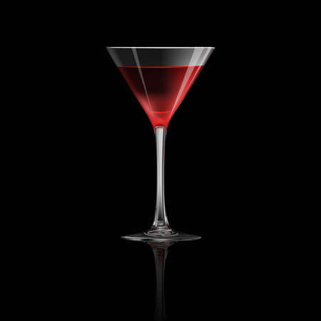 Cocktail isolated on black background, vector illustration. Illustration