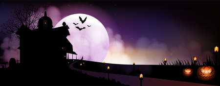 Halloween pumpkins, gravestone, bat, candle and wolf on full moon background