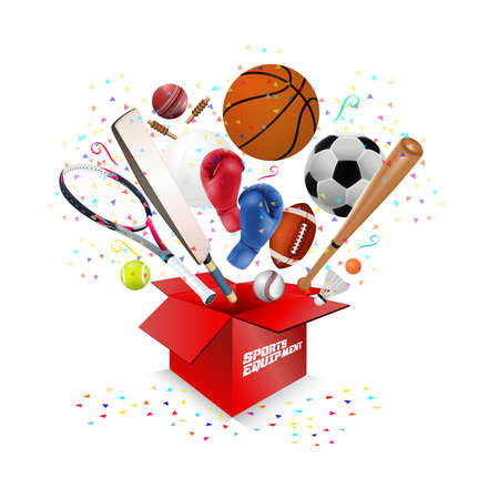 Sports equipment collection out of box with a football, basketball, baseball, soccer, tennis, ball volleyball, gloves, cricket and badminton design illustration.