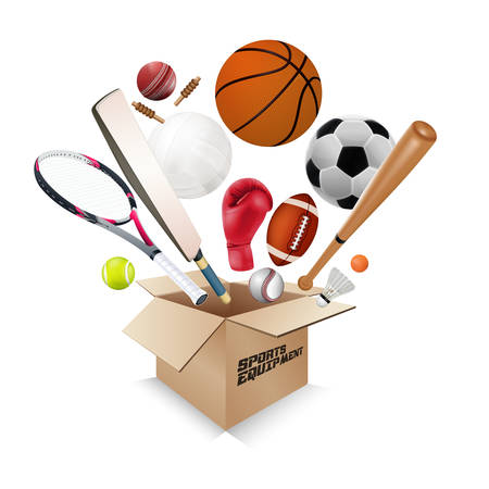 Sports equipment collection out of box with a football, basketball, baseball, soccer, tennis, ball volleyball, boxing gloves, cricket and badminton isolated on white background. vector illustration.