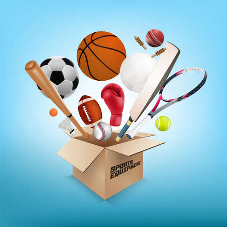 business graphics: Sports equipment collection out of box with a football, basketball, baseball, soccer, tennis, ball volleyball, boxing gloves, cricket ball and badminton on light blue background. vector illustration.