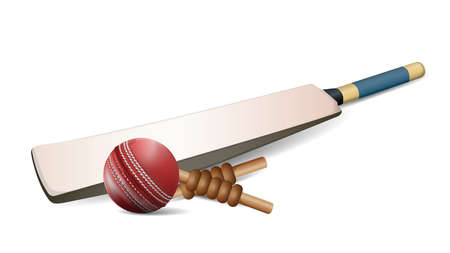 Red leather stitched Cricket ball, wooden wickets and bat isolated on white background with copy space. vector and illustration. Zdjęcie Seryjne - 87935354