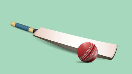Red leather stitched Cricket ball, wooden wickets and bat isolated on green background with copy space. vector and illustration.