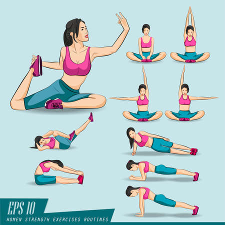 group fitness: Collection Set. Woman doing fitness and yoga exercises, plank. Full body workout, healthy and sporty woman in sportswear making physical exercises isolated on white. vector illustration.