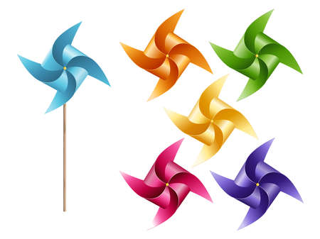Paper windmill colorful six of set isolated on white background, vector illustration. Illustration
