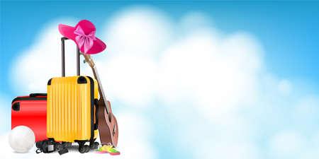 Travel concept card background. Bags, ukulele, hat, sandal, volleyball and camera on sky background vector illustration. Illustration