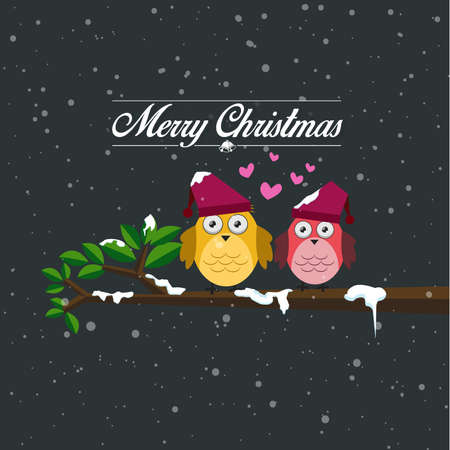 Merry christmas and happy new year card and the two birds perched on a branch. Snowing at night, vector illustration.