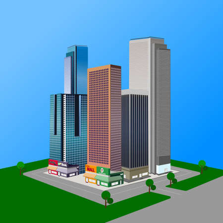 Vector design of city buildings with grasses and trees.