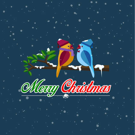 Holiday card with two colorful birds on a branch with snow.