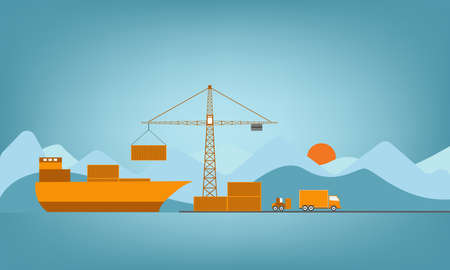 Logistics flat transportation concept with ship and truck vector illustration. Stock Illustratie