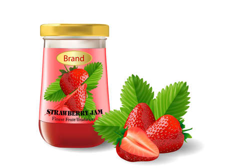 Strawberry jam Packaging isolated on white background, vector illustration. Illustration
