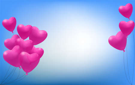 Pink heart balloons on a blue background for Valentines day, vector design Illustration