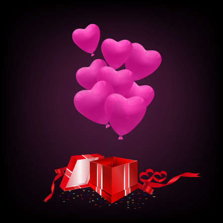 Vector red gift box with pink heart balloons on dark background.