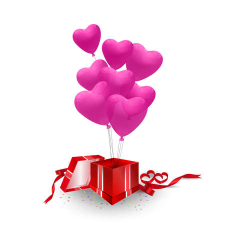 Vector red gift box with pink heart balloons isolated on white background.