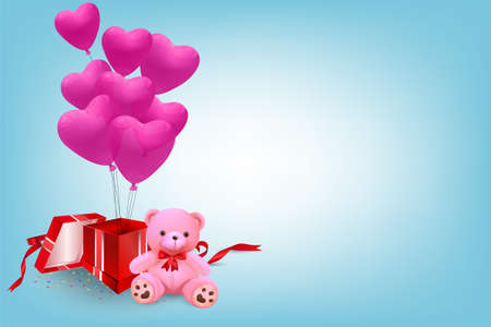 Cute teddy bear and pink heart balloons out of gift box - vector and illustration. Illustration
