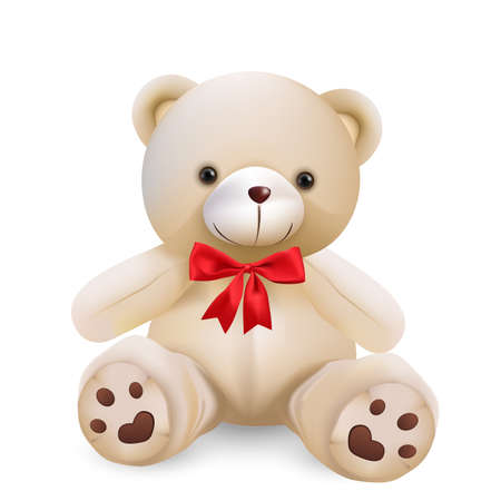 Cute teddy bear isolated on white background - vector and illustration. Çizim