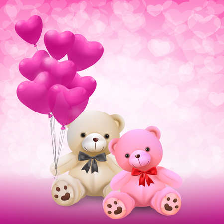 Cute teddy bear holding pink heart balloons - vector and illustration.