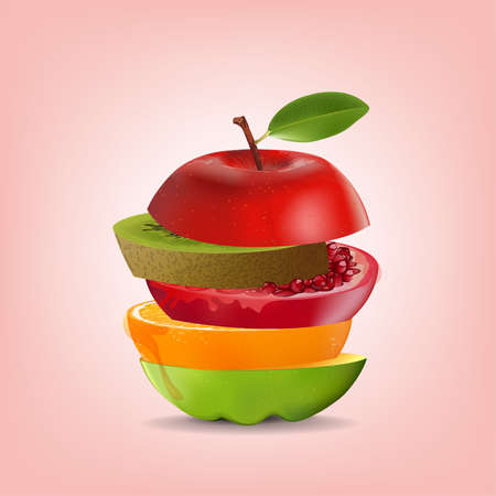 Creative healthy mix fruit. Apple, Orange, Pomegranate and kiwi with sliced fresh fruit, for a low calorie snack, isolated on pink background, vector and illustration.  イラスト・ベクター素材