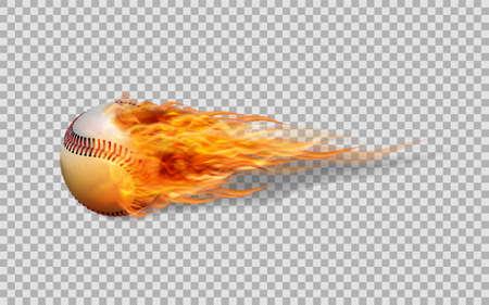 Ball auf Feuer lokalisiert auf weißem Hintergrund. Vektorgrafik