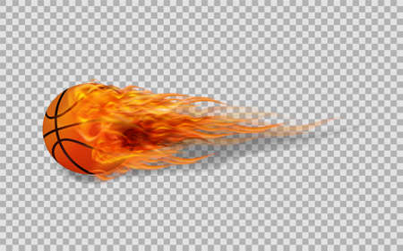 Realistic vector basketball in fire on transparent background.