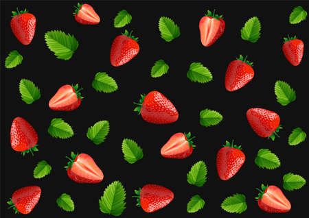Strawberry seamless pattern isolated on black background, vector and illustration.