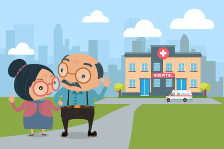 Couple of lovely senior with healthcare. old people health concept vector illustration. Illustration