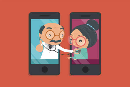 Doctor's hand holding a stethoscope through the phone screen checking heartbeat of old women. online, remote healthcare flat design concept isolated on orange background. Vector illustration. 矢量图像