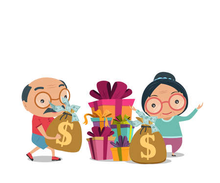 Grandparent, Old senior man and woman happy retirement get rich in flat style isolated on white background, vector and illustration.