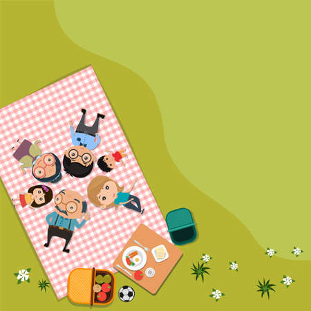 Happy family picnic in outdoor modern flat style in green meadow Top view. vector illustration.
