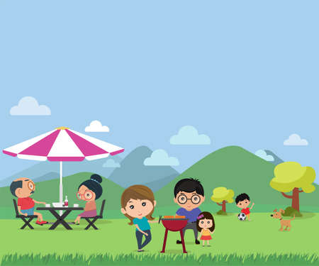 Happy family picnic in outdoor modern flat style vector illustration.