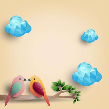 Ptaki na gałęzi z wielokątnych kształtów, ilustracji wektorowych.