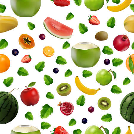 Pattern Seamless, Mixed fresh fruits, Strawberry, Kiwi, watermelon, Orange, berry and pomegranate on white background, vector and illustration.