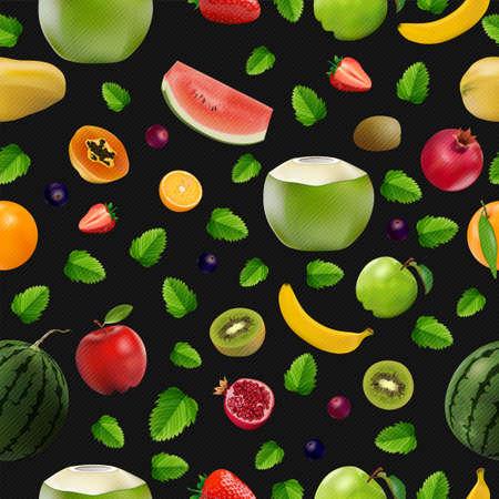 Mixed fresh fruits, Strawberry, Kiwi, watermelon, Orange, berry and pomegranate on black background, vector and illustration.