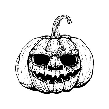 Black Pumpkin outline icon, Halloween holiday symbol isolated on white background. Halloween logo. vector and illustration.