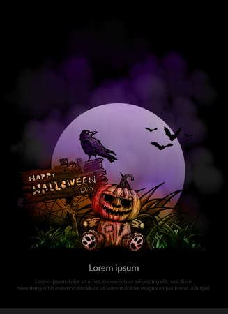 Halloween vertical background with pumpkin on full moon. Flyer or invitation template for Halloween party. Vector illustration. Ilustrace