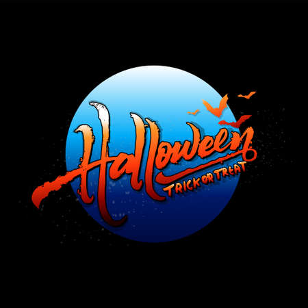 Halloween trick or treat text art on blue full moon isolated on black background, vector and illustration.