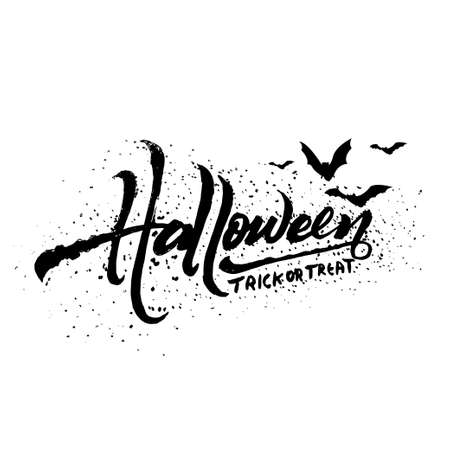 Halloween trick or treat text art isolated on white background, vector and illustration. Ilustrace