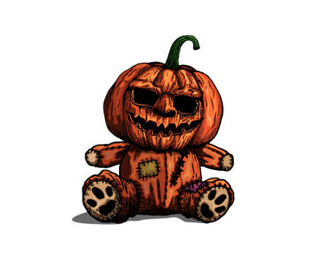 Pumpkin doll for Halloween day isolated on white background, vector and illustration.