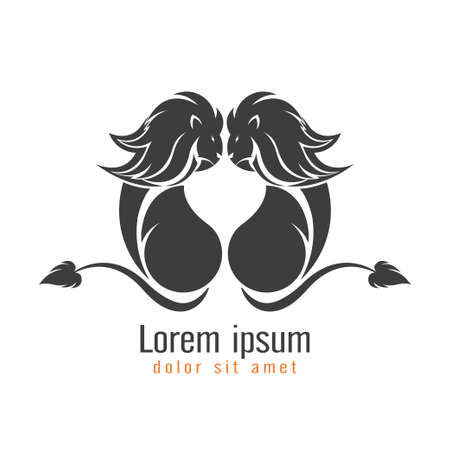 Lion logo, emblem design isolated on white background. vector illustration
